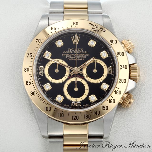 rolex uhr daytona stahl gold 750 diamanten chronograph. Black Bedroom Furniture Sets. Home Design Ideas