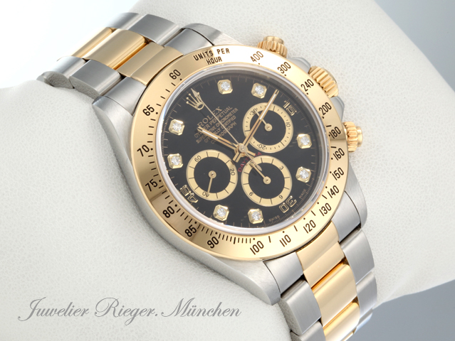 rolex uhr daytona stahl gold 750 diamanten chronograph automatik armbanduhr q49 ebay. Black Bedroom Furniture Sets. Home Design Ideas