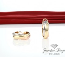 Cartier Trinity Creolen 24 mm Gelbgold Weissgold Rosegold 750 Gold Ohrringe
