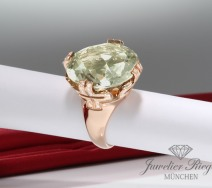 BVLGARI RING PARENTESI COCKTAIL ROSEGOLD 750 DIAMANTEN GRüNER QUARTZ 51