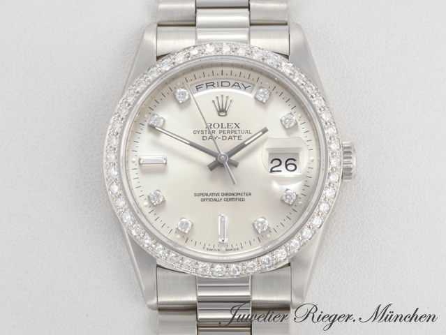 Rolex Daydate 18346 Platin 950 Diamanten Automatik 36 Mm