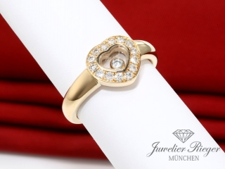 CHOPARD RING HAPPY DIAMONDS GELBGOLD 750 HERZ GR 51 DIAMANTEN 82/1084