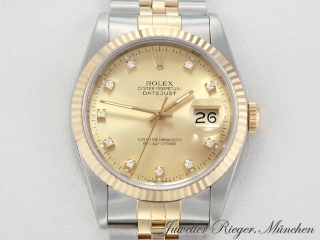 rolex datejust 16233 stahl gold 750 diamanten automatik 36. Black Bedroom Furniture Sets. Home Design Ideas