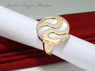 BVLGARI RING SPINNING OPTICAL GELBGOLD 750 PERLMUTT GOLD BULGARI GR. 55