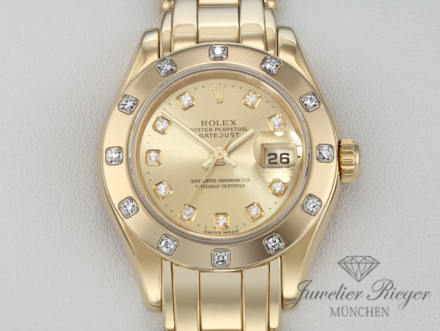 ROLEX PEARLMASTER 29 DATEJUST 80318 GELBGOLD 750 DIAMANTEN AUTOMATIK LADY GOLD