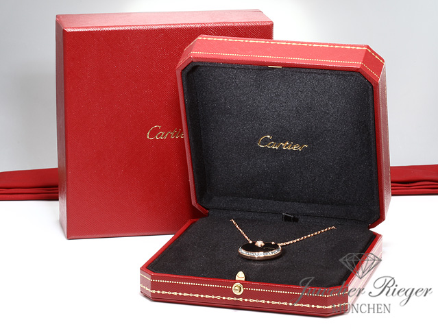 CARTIER COLLIER AMULETTE MM ROSEGOLD 750 ONYX DIAMANTEN BRILLANTEN GOLD N3109800