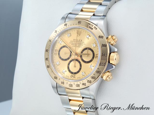 Rolex Daytona 16523 Stahl Gold 750 Diamanten Zenith Chronograph
