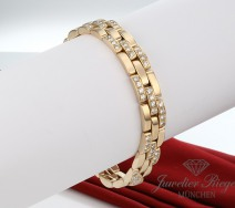 CARTIER ARMBAND MAILLON PANTHERE GELBGOLD 750 DIAMANTEN GR 18 GOLD BRILLANTEN