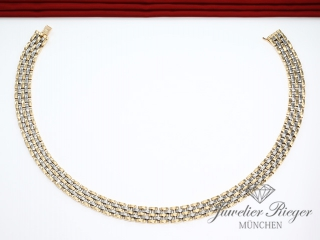 CARTIER COLLIER PANTHERE MAILLON EDELSTAHL GELBGOLD 750 GOLD KETTE HALSKETTE