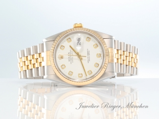 ROLEX DATEJUST 16233 STAHL GOLD 750 DIAMANTEN AUTOMATIK 36 MM HERREN DAMEN