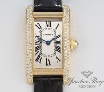 CARTIER LADY TANK AMERICAINE GELBGOLD 750 DIAMANTEN LEDERBAND DAMENUHR GOLD