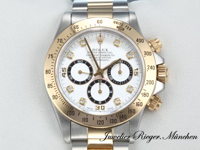 Rolex Daytona 16523 Stahl Gold 750 Diamanten Chronograph Automatik