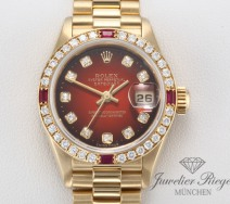 Rolex Lady Datejust Gelbgold 750 Diamanten Rubine Brillanten Automatik Gold