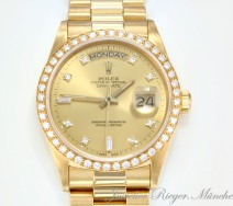 Rolex Daydate 36 mm Gelbgold 750 Diamanten 18348 Automatik Brillanten Day Date