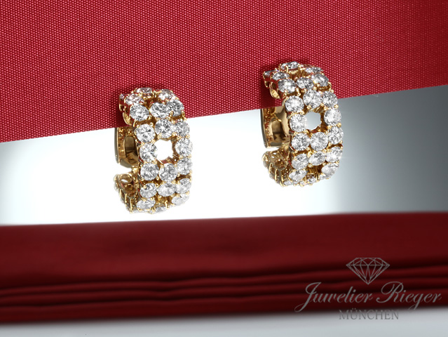 BRILLANT CREOLEN GELBGOLD 750 DIAMANTEN CA. 9,6 CT. BRILLANTEN OHRRINGE GOLD