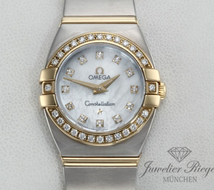 Omega Constellation Double Eagle Lady Stahl Gelbgold Diamanten Automatik