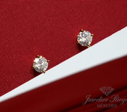 CARTIER OHRRINGE SOLITäR 1895 DIAMANTEN JE 0,55 CT BRILLANTEN GELBGOLD 750