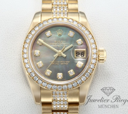 Rolex Lady Datejust 179138 Gelbgold 750 2011 Diamanten Brillanten Automatik Gold