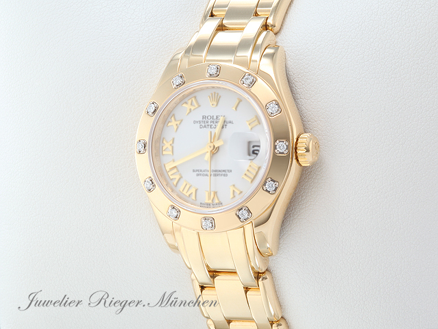 Rolex Pearlmaster 29mm Datejust 80318 Gelbgold 750 Diamanten Automatik Lady Gold