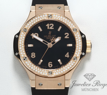 Hublot Big Bang Rosegold 750 Diamanten 38 mm Kautschuk 361.PX.1280.RX.1104 Gold