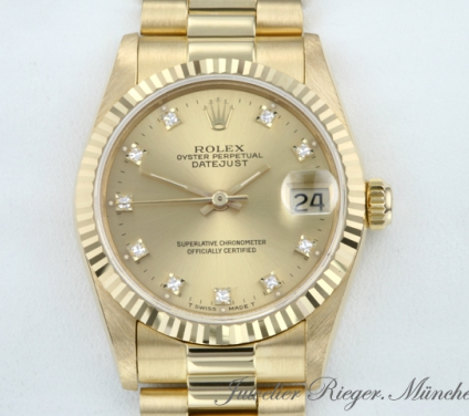 Rolex Datejust Medium 31 mm Gelbgold 750 Diamanten Automatik