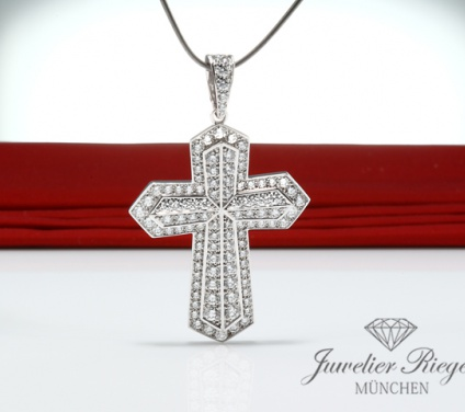 CARTIER ANHäNGER KREUZ WEISSGOLD 750 DIAMANTEN CA. 2,28 CT. GOLD CROSS PENDANT