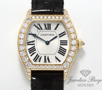 Cartier Tortue Lady Gelbgold 750 Diamanten Brillanten Armbanduhr Damenuhr Gold