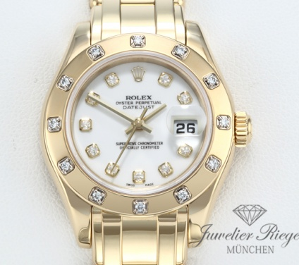 Rolex Pearlmaster Datejust 80318 Gelbgold 750 Diamanten Automatik Lady Gold