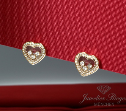 CHOPARD OHRRINGE HAPPY DIAMONDS HERZ GELBGOLD 750 DIAMANTEN GOLD DIAMONDS HEARTS