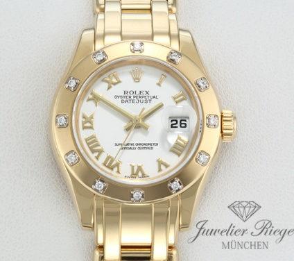 Rolex Pearlmaster 80318 2007 LC100 Gelbgold 750 Diamanten Automatik Lady Gold