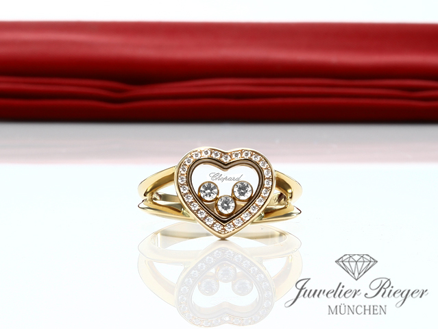 CHOPARD RING HAPPY DIAMONDS HERZ GELBGOLD 750 DIAMANTEN GOLD HEART